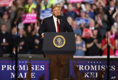 President Donald Trump addresses the audience during a rally at the Four Seasons Arena at Montana ExpoPark, July 5, 2018, in Great Falls, Mont., in support of Rep. Greg Gianforte, R-Mont., and GOP Senate candidate Matt Rosendale.