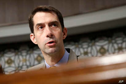 Senate Armed Services Committee member Sen. Tom Cotton, R-Ark. questions Navy Secretary nominee Richard Spencer on Capitol Hill in Washington, July 11, 2017.