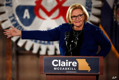 Incumbent Sen. Claire McCaskill, D-Mo., speaks during a campaign rally, Oct. 31, 2018, in Bridgeton, Mo. McCaskill is running for re-election.