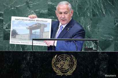 Israeli Prime Minister Benjamin Netanyahu addresses the 73rd session of the United Nations General Assembly at U.N. headquarters in New York, Sept. 27, 2018.
