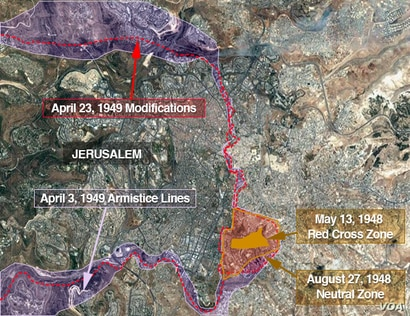 Map of Jerusalem showing the changing lines that created the territorial anomaly where the new U.S. embassy to Israel will be partly located.