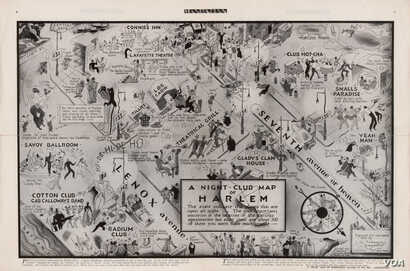 """This 1932 map is a guide to nightclubs in Harlem, an historically black New York neighborhood with a rich musical culture that became famous for jazz. (From """"A History of America in 100 Maps""""/Library of Congress)"""