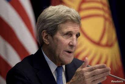 U.S. Secretary of State John Kerry speaks during a news conference at the Ala Archa compound in Bishkek, Oct. 31, 2015.