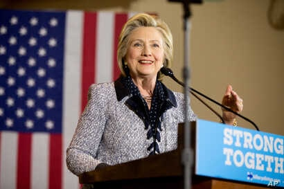 FILE - Democratic presidential candidate Hillary Clinton speaks at a rally at the International Brotherhood of Electrical Workers Circuit Center, in Pittsburgh, June 14, 2016.