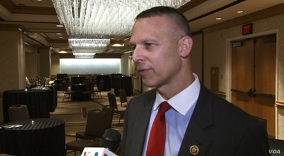 Republican Congressman Scott Perry speaks to VOA Persian at Washington's Grand Hyatt hotel, June 14, 2017
