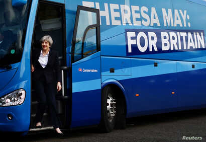 Britain's Prime Minister Theresa May arrives for a campaign visit to a tool factory in Kelso, Scotland, June 5, 2017.