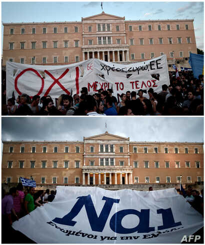 "Protestors displaying a banner bearing the ''NO'' slogan in reference to the upcoming referendum on bailout conditions, during a demonstration in front of the Greek parliament in Athens, June 29 and pro-euro protesters hold a banner reading ''YES"" d..."