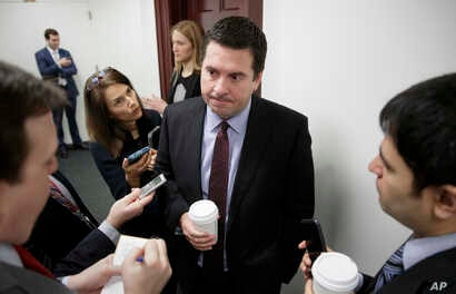 House Intelligence Committee Chairman Rep. Devin Nunes is questioned by reporters on Capitol Hill in Washington, Feb. 14, 2017, on the ouster of Michael Flynn, President Trump's national security adviser.