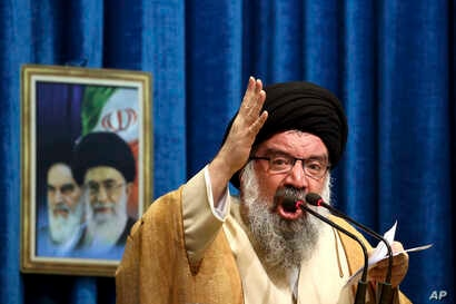 Iranian senior cleric Ahmad Khatami delivers his sermon during Friday prayer ceremony in Tehran, Iran, Jan. 5, 2018. The hard-line Iranian cleric has called on Iran to create its own indigenous social media apps, blaming them for the unrest that foll...