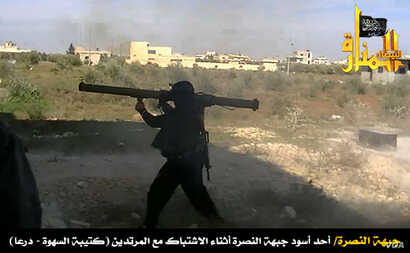 Syria's al-Nusra rebels post a photo of its fighters using an M-79 anti-tank weapon.