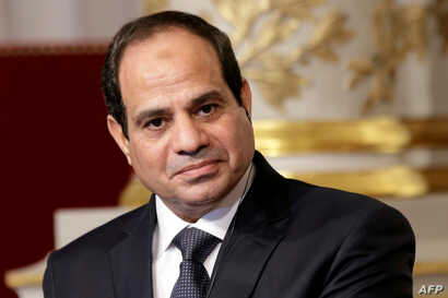 FILE - Egyptian President Abdel Fattah el-Sissi delivers a statement following a meeting at the Elysee Palace in Paris, Nov. 26, 2014.