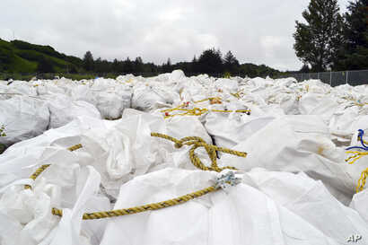 Bags of debris gathered off the coast are shown in Kodiak, Alaska, July 15, 2015. A barge will be used to haul away tons of marine debris — some likely from the 2011 tsunami in Japan — from Alaska shores.