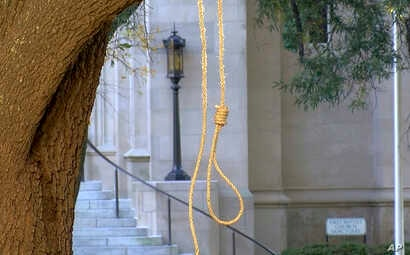 In this photo provided by WLBT-TV a noose hangs on a tree on the state capitol grounds in Jackson, Miss. on Nov. 26, 2018.
