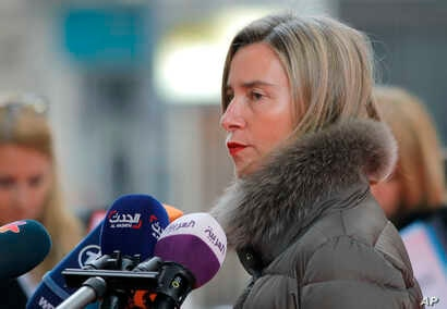 European Union foreign policy chief Federica Mogherini speaks to media before a meeting of EU foreign ministers in Bucharest, Romania, Jan. 31, 2019.