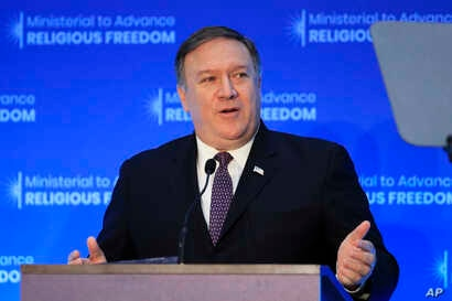 Secretary of State Mike Pompeo, speaks at the close of a three-day conference on religious freedom at the State Department in Washington, July 26, 2018.