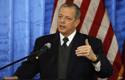 FILE - John Allen, U.S. special presidential envoy for the global coalition to counter the Islamic State group, speaks during a press conference in Baghdad, Iraq.