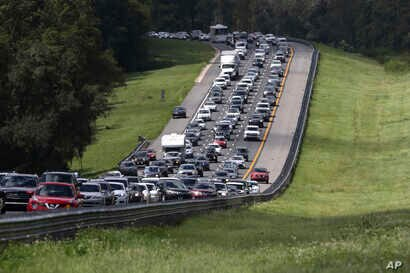 Evacuation traffic is seen on I-75 N, near Brooksville, Florida, in advance of Hurricane Irma, Sept, 9, 2017.