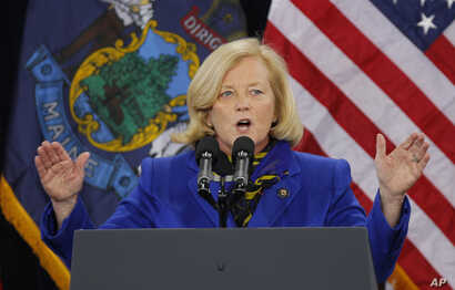 U.S. Sen. Chellie Pingree, D-Maine, speaks at a campaign stop for President Obama at Southern Maine Community College, March 30, 2012, in Portland, Maine.