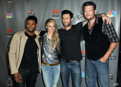 """From left, Usher, Shakira, Adam Levine, and Blake Shelton arrive at """"The Voice"""" season 4 red carpet event at the House of Blues on May 8, 2013 in Los Angeles."""