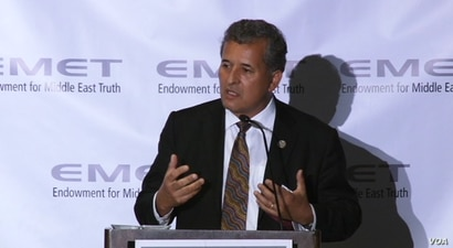 Democrat Congressman Juan Vargas speaks at a Washington dinner held by the Endowment for Middle East Truth, June 14, 2017