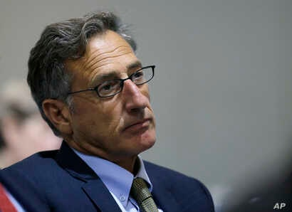 "FILE - Vermont Gov. Peter Shumlin, pictured at a New England-Canadian leaders conference in Boston in August 2016, says Americans should ""be both alarmed and outraged"" by reports of Russian cyberattacks in the U.S."