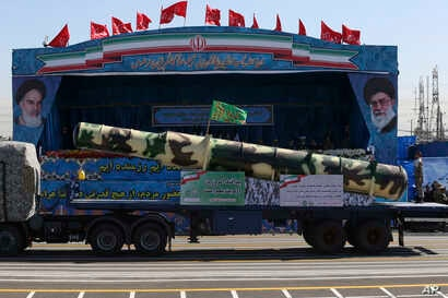 A Russian-made S-200 air defense system is displayed during a parade marking National Army Day, just outside Tehran, Iran,  April 18, 2017.