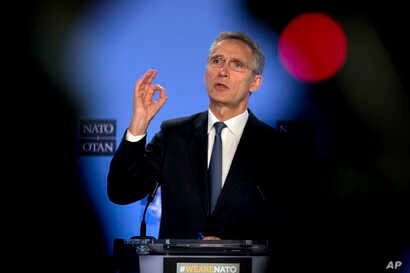 NATO Secretary General Jens Stoltenberg speaks during a media conference after a meeting of the NATO-Russia Council at NATO headquarters in Brussels, Friday, Jan. 25, 2019.