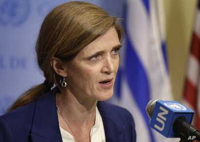 Samantha Power, U.S. ambassador to the U.N., talks to reporters during a break in Security Council consultations, Feb. 25, 2016.
