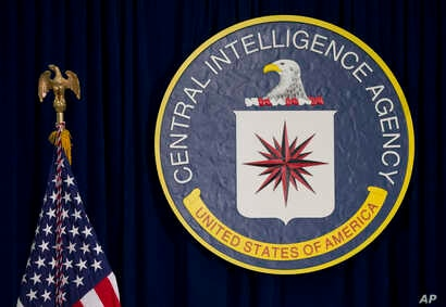 FILE - The seal of the Central Intelligence Agency is seen at CIA headquarters in Langley, Va.