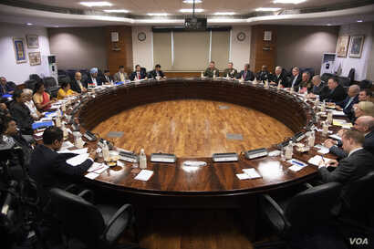 U.S. Defense Secretary James N. Mattis and U.S. Secretary of State Mike Pompeo meet with their counterparts Indian Minister of External Affairs Sushma Swaraj and Indian Minister of Defense Nirmala Sitharaman for the 2+2 meeting at the Ministry of Ext...