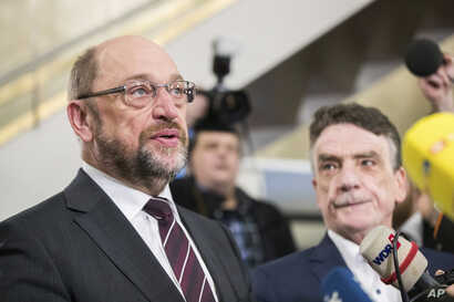 The chairman of the Social Democratic Party, SPD, Martin Schulz speaks to reporters in Dortmund, Germany, Jan. 15, 2018.