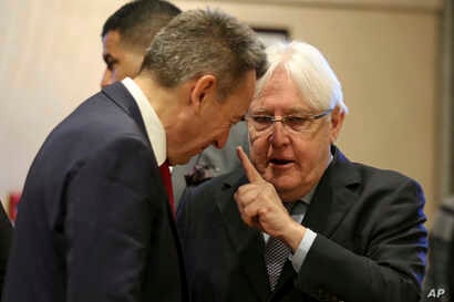 United Nations Special Envoy to Yemen Martin Griffiths, right, speaks to President of the International Committee of the Red Cross (ICRC), Peter Maurer, during talks on Yemen, in Amman, Jordan, Tuesday, Feb. 5, 2019.