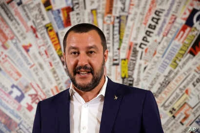 FILE - Matteo Salvini, leader of the Northern League party, meets the media at the Foreign Press Association headquarters in Rome, July 11, 2017.