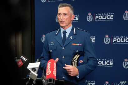 New Zealand police Commissioner Mike Bush speaks to the media after an attack on a mosque in Christchurch at the Royal Society building in Wellington, March 15, 2019.