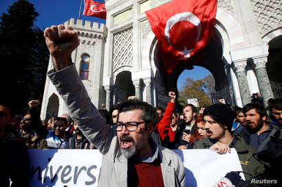 Demonstrators protest, Nov. 3, 2016, in Istanbul after a purge of thousands of education staff at Istanbul University after an attempted coup in July. The fallout continued Jan. 6, 2017 when 6,000 more Turks  were dismissed from their jobs.