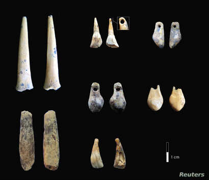 Bone points and pierced teeth, sampled for radiocarbon dating from the early Upper Paleolithic layers of Denisova Cave in Siberia, Russia, are shown in this photo provided Jan. 30, 2019.
