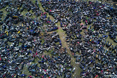 Wasted motorbikes are seen at a recycling centre in Nanjing, Jiangsu province, China, March 27, 2017.