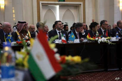 Delegates attend the second Kabul Process conference at the Presidential Palace in Kabul, Afghanistan, Feb. 28, 2018.