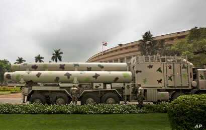 Supersonic BrahMos missiles are prepared for an exhibition in New Delhi, India, Aug. 1, 2016.