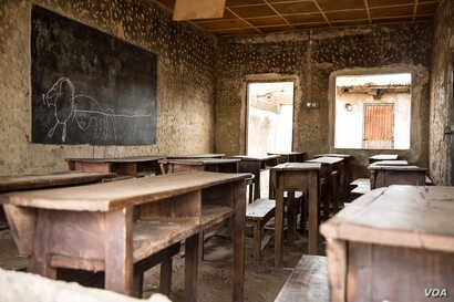 A classroom in the EMCI school in Lassa, where much of the help comes from nongovernmental organizations.
