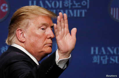U.S. President Donald Trump reacts during a news conference after his summit with North Korean leader Kim Jong Un, at the JW Marriott Hotel in Hanoi, Vietnam, Feb. 28, 2019.