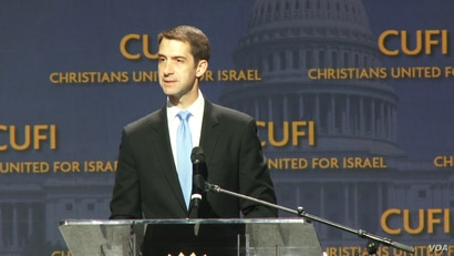 U.S. Republican Senator Tom Cotton of Arkansas speaks to the annual conference of Christians United for Israel in Washington, July 24, 2018. (B. Gharehdaghi/VOA Persian)