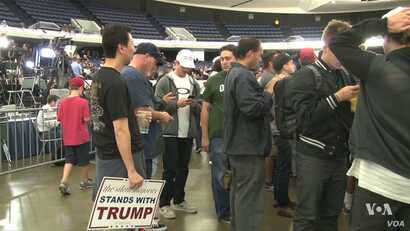 Supporters at a Trump rally in Orange County, California.