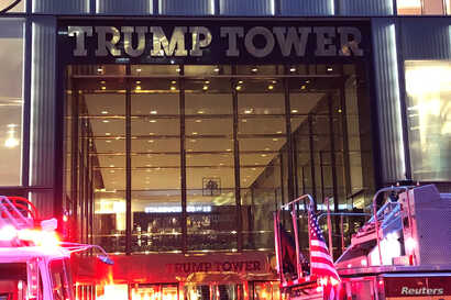 Trump Tower is pictured during a fire in the Manhattan borough of New York City, April 7, 2018.