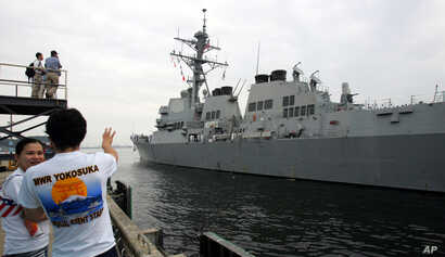 FILE - The U.S. Navy guided-missile destroyer USS McCampbell arrives at Yokosuka naval base, south of Tokyo, July 9, 2007.