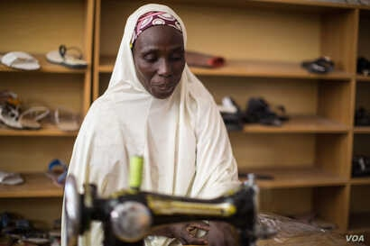 Hadiza Ali hopes to open a shop where she can sell the bags and shoes that she produces.