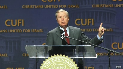 U.S. Republican Senator Lindsey Graham of South Carolina calls for new legislative action against Iran in remarks to a Christians United for Israel conference in Washington, July 24, 2018. (B. Gharehdaghi/VOA Persian)