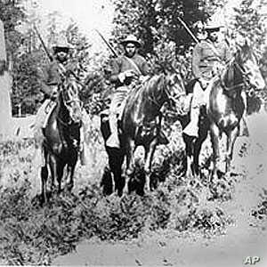 In this 1899 photo, Buffalo Soldiers in the 24th Infantry carry out mounted patrol duties in Yosemite