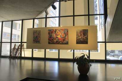 """Artworks are displayed at the East Africa Art Biennale which opened this week in Nairobi, Kenya. The exhibit is part of the """"Moving Art Across Africa"""" project which launched last year in Dar Es Salaam, Tanzania. (Source - Facebook/EASTAFAB)"""