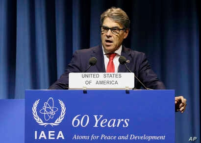 U.S. Energy Secretary Rick Perry delivers a speech during the general conference of the International Atomic Energy Agency (IAEA) in Vienna, Austria, Sept. 18, 2017.